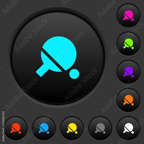 Table tennis dark push buttons with color icons