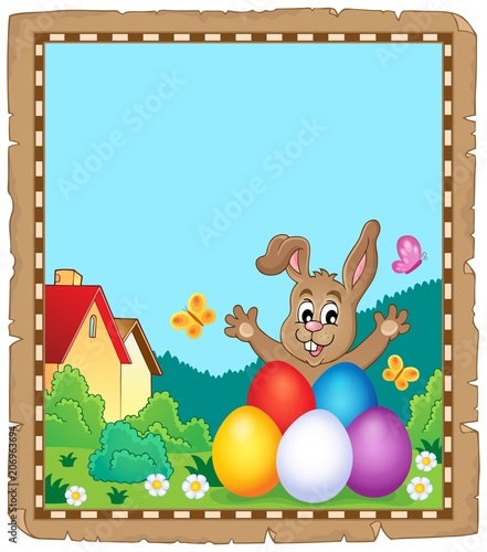 Canvas Voor kinderen Parchment with Easter bunny topic 8
