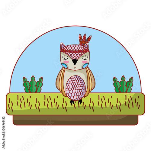 Aluminium Uilen cartoon owl cute animal with feathers in the head