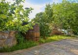 Old wine press and rustic wine barrel. Wine background in Europe. Czech Republic, South Moravia - 206965299