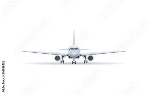 Fototapeta Front view jet airplane on the ground isolated vector icon. Passenger aircraft, air transportation, commercial airline vector illustration.