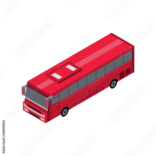 Fototapeta Passenger red bus isometric 3D element. Automobile transportation icon, urban and countryside traffic icon vector illustration.