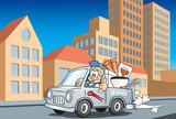 Handwerker Installateur im Servicewagen fährt durch die Stadt, Cartoon Szene - 206971011