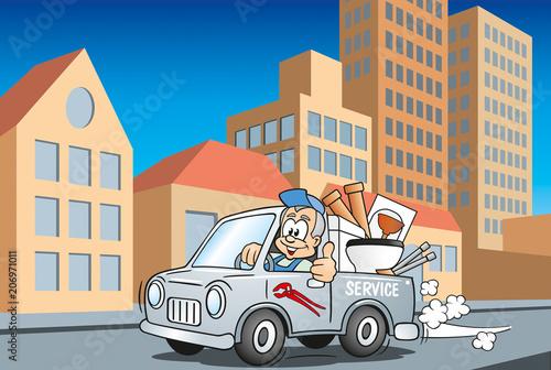 Fotobehang Auto Handwerker Installateur im Servicewagen fährt durch die Stadt, Cartoon Szene