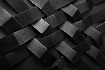 Conceptual composition with black geometric shapes, abstract background © Allusioni