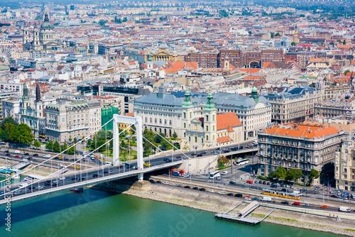 Fotobehang Boedapest Elevated view of Budapest with Elisabeth bridge on waterfront - travel destination, european capital concept