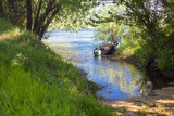 place for fishing with inflatable rubber boat on the river shore - 206977465