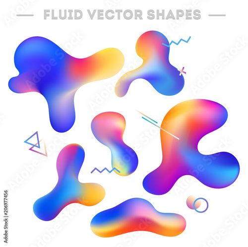 Liquid abstract shapes and geometric elements. Abstract colorful design for cards, invitations, packaging, mobile ui etc. Vector illustration..Abstract shapes set isolated on white background. - 206977456