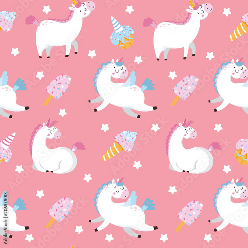 Cotton fabric Seamless pattern with pattern and sweets on pink background. Vector illustration
