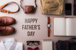Leinwanddruck Bild - Fathers day greeting card concept. Flat lay.