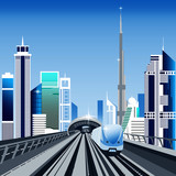 Dubai metro train and cityscape with skyscrapers vector illustration