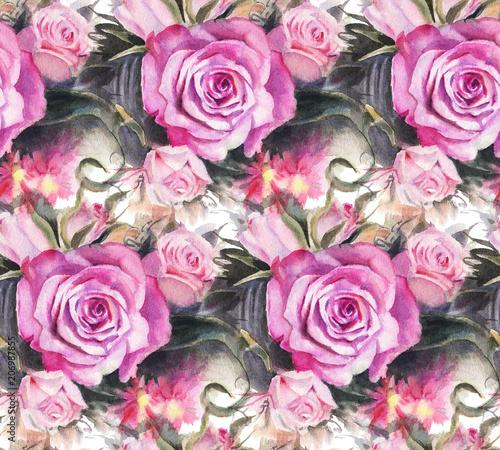 Watercolor roses - 206987855