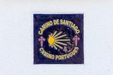 Sign of the pilgrimage route  the Camino Portugues - The Way of Saint James (El Camino de Santiago). - 206993027