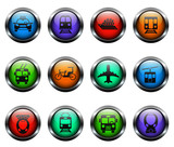 public transport vector icons on color glass buttons