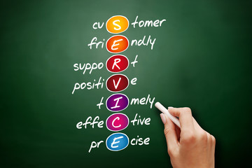 SERVICE - Customer, Friendly, Support, Positive, Timely, Effective, Precise acronym, business concept on blackboard