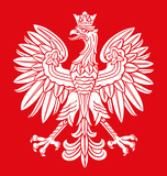 Poland eagle in national colors