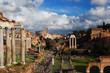 View of the Roman Forum ancient monuments with beautiful clouds from Capitoline Hill in Rome