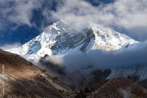 Mount Makalu with clouds, Nepal Himalayas