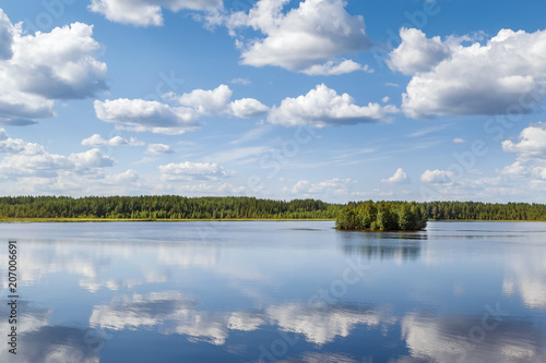 Foto Murales Landscape on the river Vyg, Russia