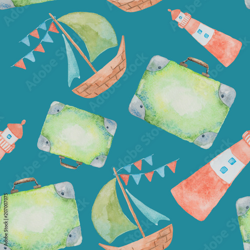 Materiał do szycia Seamless pattern on a sea theme painted watercolor on a green background