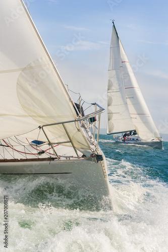 Aluminium Zeilen Two Sailing Boat Yachts at sea