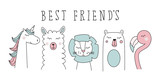 Fototapeta Pokój dzieciecy - unicorn, llama, lion, bear and flamingo, animal cartoon vector set illustration © danijelala