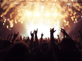 Concert spectators in front of a bright stage with live music, fireworks are visible.
