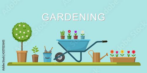 Fotobehang Boerderij Vector illustration. Concept of gardening. Garden tools.