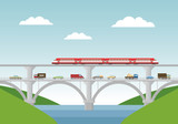 Vector illustration. Bridge with cars and train.
