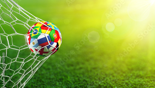 Leinwanddruck Bild Soccer Ball Flags In Goal - Russia 2018