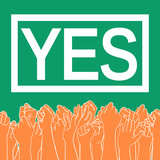 Abortion rights in the Republic of Ireland. May 25, 2018. Repeal of the 8th amendment. Raised hands of voting people, colors of Irish national flag