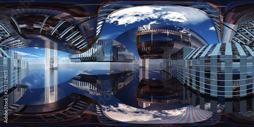 HDRI, environment map, spherical panorama, equidistant projection, production room, factory premises, 3D rendering