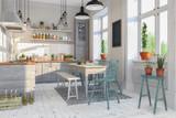 Skandinavische, nordische Küche - Wohnzimmer - Esszimmer - Wohnung - Altbau - 207034088