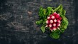 Fresh red radish. On a wooden background. Top view. Copy space.