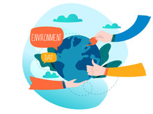 World Environmental Day Ecology Concept Flat  Illustration Save The Earth Environment Protection Ecology Awareness Design For Mobile And Web Graphics Sticker