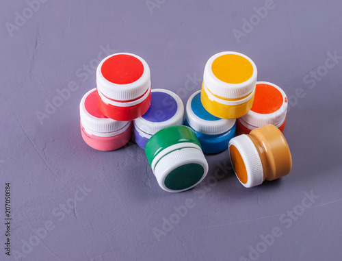 Colorful vibrant cans of gouache. Set for children's creativity © andreysp03