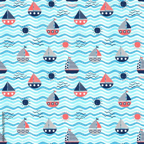 Materiał do szycia Morskie wektor wzór z łodzi czerwony i niebieski, fale i suns na faliste tła dla letnich projekt graficzny