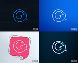 Glitch, Neon effect. Reload arrow line icon. Update Arrowhead symbol. Navigation pointer sign. Trendy flat geometric designs. Vector - 207054632