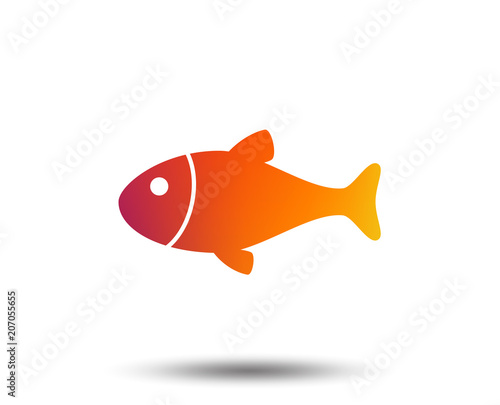 Fish sign icon. Fishing symbol. Blurred gradient design element. Vivid graphic flat icon. Vector