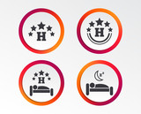 Five stars hotel icons. Travel rest place symbols. Human sleep in bed sign. Infographic design buttons. Circle templates. Vector - 207056025