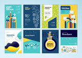 Set of brochure design templates on the subject of education, school, online learning. Vector illustrations for flyer layout, marketing material, annual report cover, presentation template. - 207056289