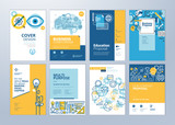 Set of brochure design templates on the subject of education, school, online learning. Vector illustrations for flyer layout, marketing material, annual report cover, presentation template. - 207056642