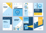 Set of brochure design templates on the subject of education, school, online learning. Vector illustrations for flyer layout, marketing material, annual report cover, presentation template. - 207056684