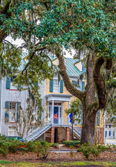 Flags on Traditional Southern Home in Savannah