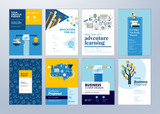 Set of brochure design templates on the subject of education, school, online learning. Vector illustrations for flyer layout, marketing material, annual report cover, presentation template. - 207056869