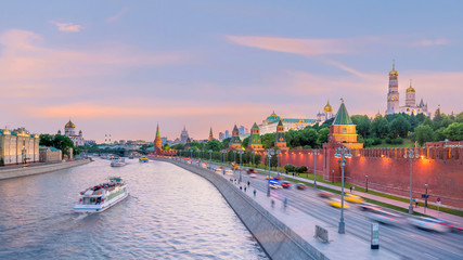 Panoramic view of the Moscow river and the Kremlin