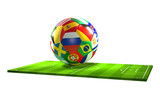 soccer ball with national flags 3d rendering over soccer field isolated