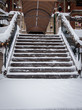 Snowy stone steps Quebec City