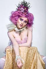 Beautiful girl with purple hair. Bright makeup © Yuriy_K