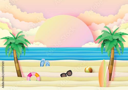 Fototapeta Summer beach and travel banner concept design on blue wave ocean background.Paper art vector illustration